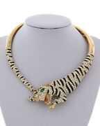 Luxe Statement Gold Animal Tiger Crystal Magnetic Cuff Necklace Rocks Boutique