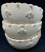 3 Cereal Bowls Beige Pottery Bumble Bee Edge Handmade Maker Help Terracotta