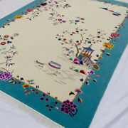 Yilong 6and039x9 Floral Hand Knotted Chinese Art Deco Wool Rug Delicate Woolen Carpet