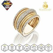 14k Solid Yellow Gold Coiled Ring 183 Natural Diamond 1.6 Ctw Ladies Handmade