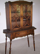 Antique China Or Book Or Curio Glass Door Cabinet In Walnut And Brown Spruce