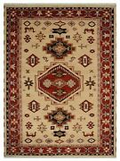 Hand Knotted Afghan Wool And Silk 6and039x9and039 Area Rug Kazak Gold Red Af0101