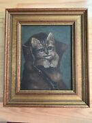 Framed Antique Oil Painting Kitten Puss In Boots Attributed Frank Patton