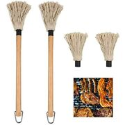 2 Pack Bbq Basting Mop Professional Barbecue Sauce Large With Wood Handle Head