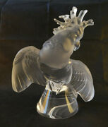 Lalique Crystal Ara Cockatoo -signed - Large -andnbsp 11 1/2 - Frosted And Clear