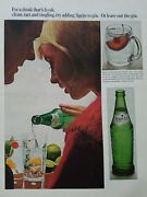 1965 Green Sprite Soda Bottle For A Drink That's Fresh Clean Tart Tingling Ad