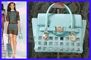 S/s 2015 Look 9 Versace Perforated Patent Blue Leather Bag