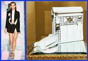 S/s 2015 Look 5 Versace Perforated Patent Leather And Snakeskin White Bag