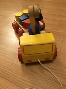 Vintage Wood Tow Truck And Wagon Pull Toy Colored Blocks Included