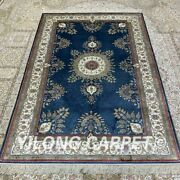 Yilong 4and039x6and039 Blue Handknotted Silk Carpet Bedroom Medallion Antistatic Rug H312b
