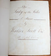 1810 The Lady Of The Lake Walter Scott Hand Written Manuscript Eighth Edition
