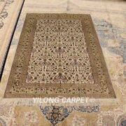 Yilong 4and039x6and039 Classic Hand Knotted Vintage Carpet Beige Handmade Area Rugs 869b