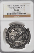1993 Sts-55 Robbins Silver Space Medal Unflown 157 Ngc Ms65 Columbia D-2