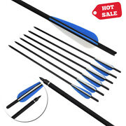 16/18/20/22 Archery Crossbow Carbon Arrows Bolts Target Tips Hunting Shooting