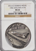 1986 Sts-61c Robbins Silver Space Medal Unflown 199 Ngc Ms66 Columbia