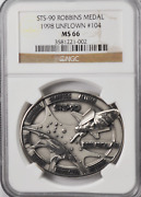 1998 Sts-90 Robbins Silver Space Medal Unflown 104 Ngc Ms66 Columbia Neurolab