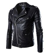 Menand039s Faux Leather Jacket Buckle Motorcycle Biker Slim Fit Outdoor Zipper New L