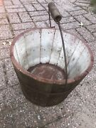 Antique Shaker Pail Bucket Old Red Paint Diamond Bail Handle