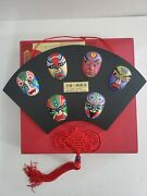 Rare Find The Mask Sichuan Opera Of China 6 Mini Masks Wall Hanging Art Decor