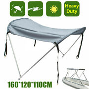 2 Bow Boat Bimini Top Canopy Cover 45and039and039-63and039and039 Sun Uv Support Poles Clips Shade