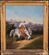 19th Century English Lady Portrait Riding Her Horse And Greyhound Antique Painting