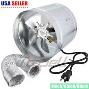 4 Duct Blower Fan Booster Inline Dryer Exhaust Vent Air Cooled Bathroom Kitchen