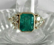 3.00ct Emerald Cut Green Emerald Antique Vintage Ring 14k In Yellow Gold Finish