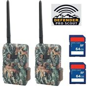 2 Browning Defender Wireless Scout Pro Atandt Cellular 2020 W/ 2 64gb Sd Card