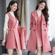 Korean Womens Slim Fit Wool Double-breasted Jacket Pencil Dress 2pcs Suit Spring