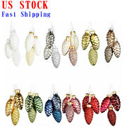 36 Pcs Pine Cone Glass Ornaments In Mixed For Christmas Tree Pendant Decoration