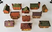 1930-40 Built Rite Houses Toy Rr Station Stores Houses Village Cardboard 11p Lot