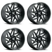 Set 4 22x14 Vision Spyder Black 8x170 Lifted For Ford Truck Wheels -76mm W/ Lugs