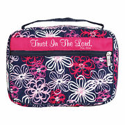 Pink Floral Trust Him Quilted 10.25x7.25 Fabric Bible Cover Case Handle Large