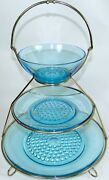 3 Tier Serving Tray Sweet Stand Blue Hobnail Glass Plate Bowl Mid Century Modern