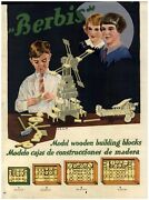 1930 Paper Ad Toys Berbis Wood Wooden Building Blocks Tinker Toy Type