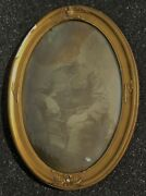 Antique Convex Glass Us Military Wood Frame Eagle Flag Soldier Wwi Photo Portr