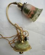 Antique Goose Neck Desk Lamp Green Marble Base Painted Glass Shade Cloth Cord