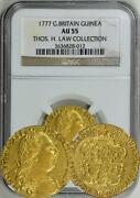 Great Britain 1777 George Iii Gold Guinea Ngc Au-55, Ex - Thos. H. Law Collec