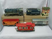 1950 Unique Lines 5 Piece Electric Freight Set With Control Tower And Boxes