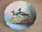 Antique French Porcelain Hand Painted Shore Bird Wall Charger Cabinet Plate