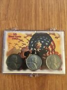 1943 P D S Steel Wheat Cent Penny Set 3 Coins   Free Shipping