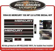 1994 1995 Mercury 150 Hp 2.0 Litre Replacement Outboard Decals 135 Hp Also