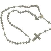 Antique Rosary Sterling Silver Museum Piece Beads Necklace Saint, 24.55 Grams