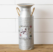 Merry Country Christmas Snowman Tall Milk Can