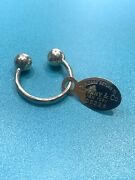 Vintage 1970and039s Please Return To And Co. 18k Yellow Oval Tag Gold Key Ring