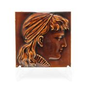 Antique Maw And Co Portrait Tile Young Female In Brown Treacle Majolica Glaze