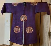 Antique Chinese Qing Dynasty Hand Embroidery Silk Robe Long 53 Chest 60