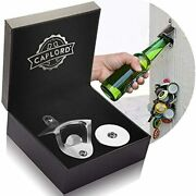 Bottle Opener Wall Mounted With Magnetic Cap Catcher - Birthday Gifts Men Great