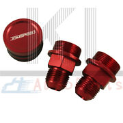 Red Block Plug And Catch Can Breather Fittings For B16 B18c Catch Can M28 To 10an