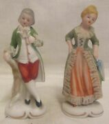 Victorian Man And Lady Starched Lace Green Outfit Figurines Marked Foreign